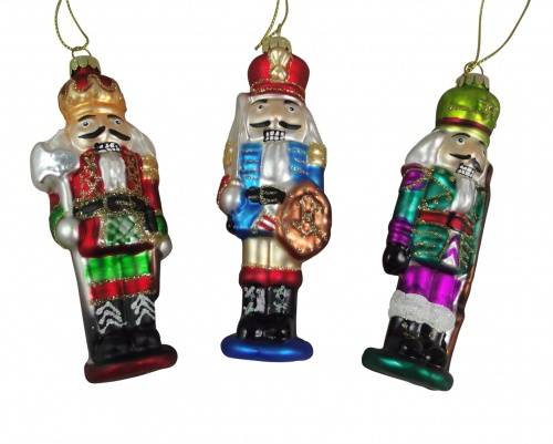 Gisela Graham Set Of 3 Nutcracker Christmas Tree Decorations