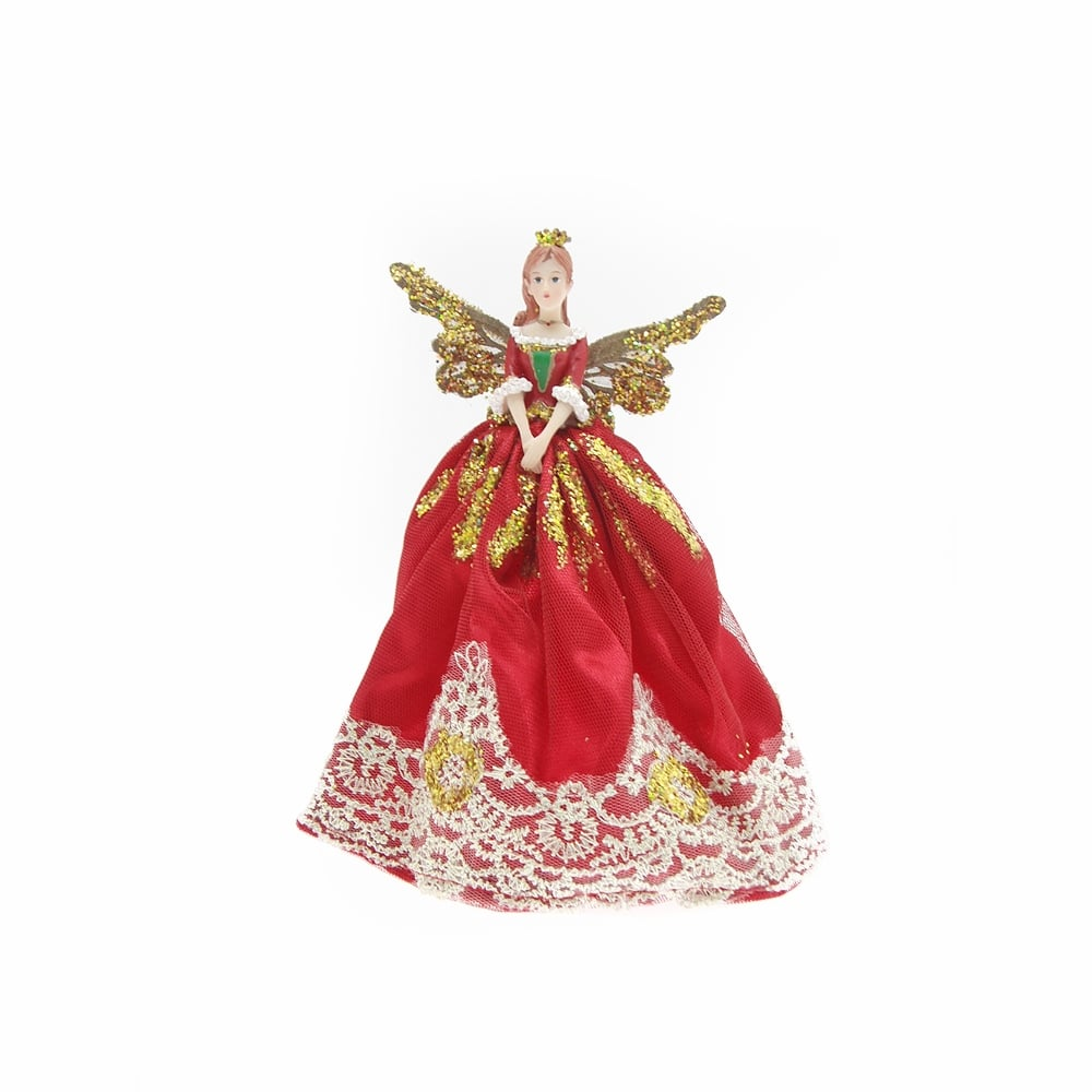 Gisela graham red and gold christmas fairy topper for Home christmas decorations uk