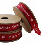 East of India Red Merry Christmas Ribbon