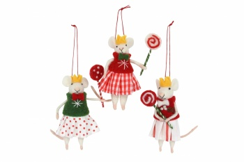 Gisela Graham Set of 3 Mice Girls with Lollipops Christmas Decorations