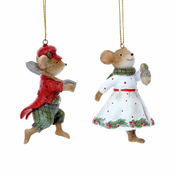 Gisela Graham Resin Mr & Mrs Mouse Christmas Decorations