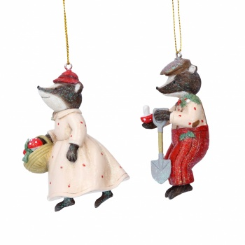 Gisela Graham Resin Mr & Mrs Badger Christmas Decorations
