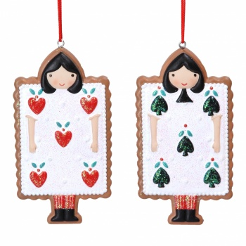 Gisela Graham Resin Gingerbread Playing Card Character Decorations