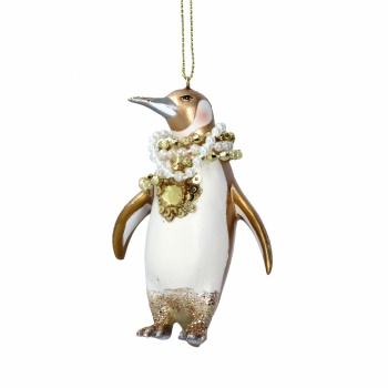 Gisela Graham Cream & Gold Penguin Christmas Decoration