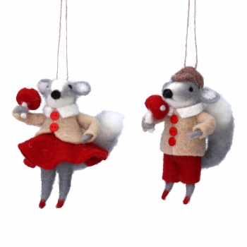 Gisela Graham Wool Mr& Mrs Squirrel Christmas Decorations
