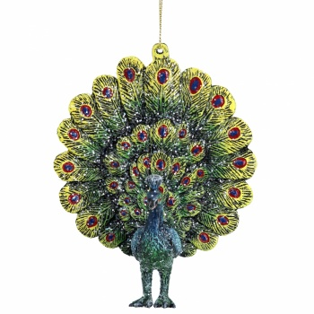 Gisela Graham Acrylic Fantail Peacock Christmas Decoration