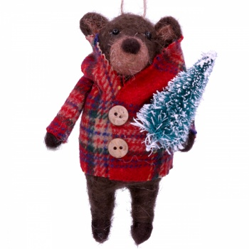 Gisela Graham Brown Teddy in Coat with Tree Christmas Decoration