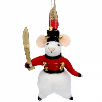 Gisela Graham Wool Mouse Soldier Christmas Decoration