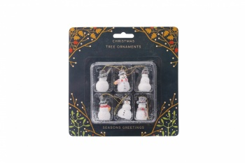Set of 6 Snowman Christmas Tree Decorations