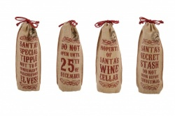 Vintage Style Jute Christmas Bottle Holders