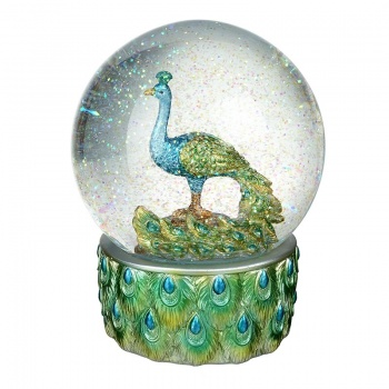 Heaven Sends Pretty Peacock Snowglobe
