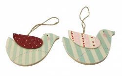 Gisela Graham Pair of Striped Bird Decorations