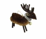 Gisela Graham Bristle Reindeer With Bell Christmas Decoration