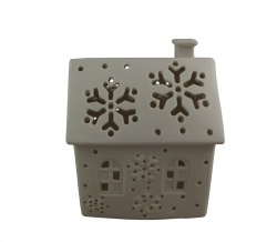 Gisela Graham Ceramic Cottage Tealight Holder Christmas Decoration