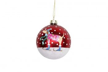 Gisela Graham Winter Lodge Dog Glass Christmas Tree Bauble