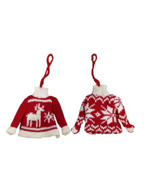 Gisela Graham Red and White Knitted Christmas Jumper Decorations