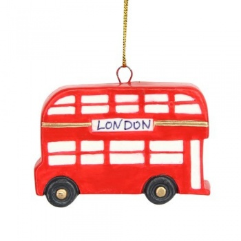 Gisela Graham London Bus Resin Christmas Decoration