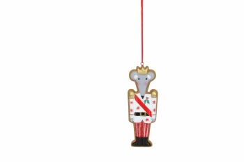 Gisela Graham Iced Gingerbread King Mouse Hanging Decoration