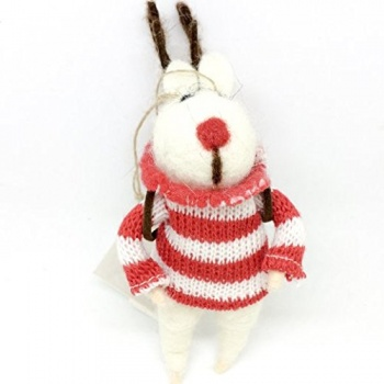 Gisela Graham Felt Reindeer with Antlers Christmas Decoration
