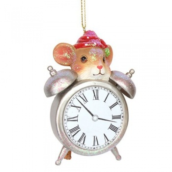 Gisela Graham Mouse on Clock Christmas Tree Decoration