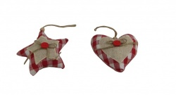 Set of 2 Gisela Graham Gingham Fabric Heart and Star Tree Decorations