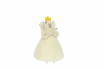 Gisela Graham White Princess Mouse Christmas Decoration