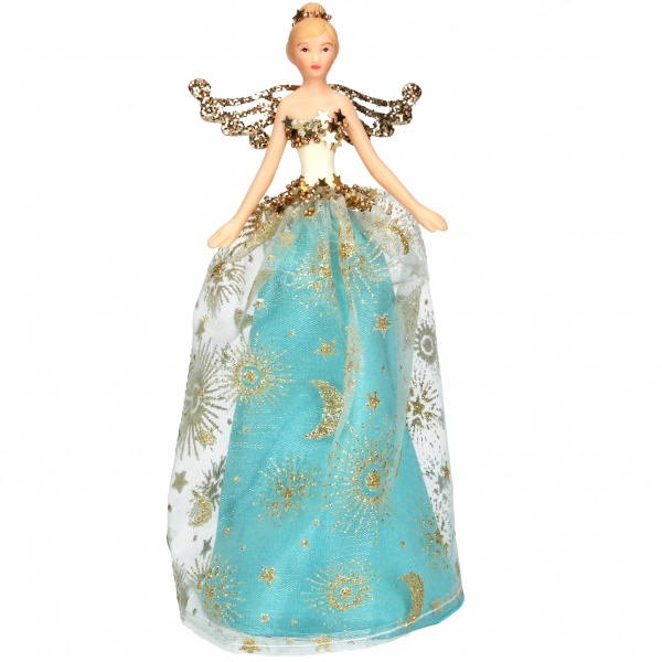 Gisela Graham Celestial Turquoise and Gold Fairy Christmas Tree Topper