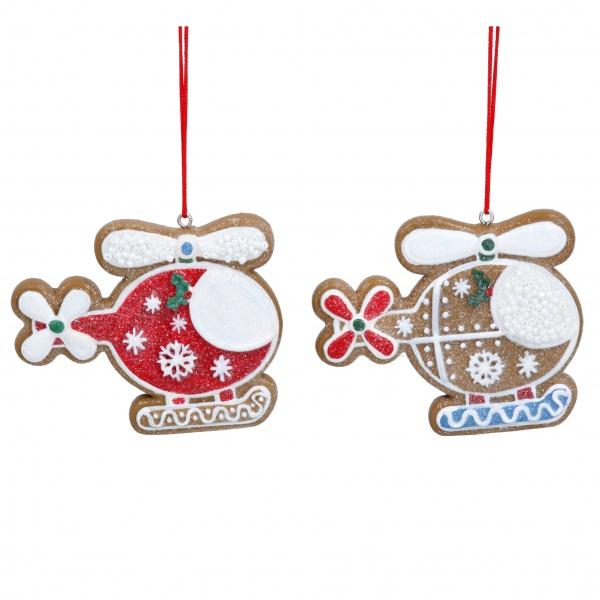 Gisela Graham Set of 2 Gingerbread Helicopter Christmas Tree Decorations
