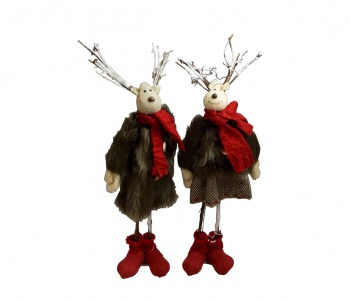 Pair of Fun Reindeer Christmas Home Decorations