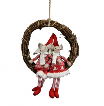 Gisela Graham Mice Twig Christmas Wreath