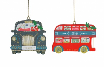 Gisela Graham Bus and Taxi Christmas Tree Decorations