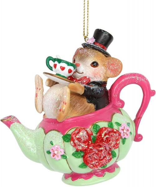 Gisela Graham Mouse in Teapot Hanging Christmas Decoration
