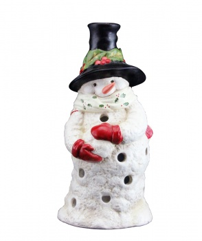 Gisela Graham Ceramic Snowman Christmas Tea Light Holder