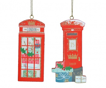 Gisela Graham Telephone and Postbox Christmas Decorations