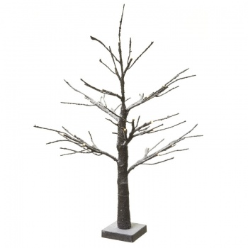 LED Light Up Brown Snow Effect Twig Tree