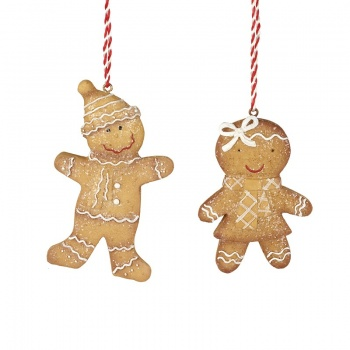 Heaven Sends 2 Gingerbread  People Christmas Decorations