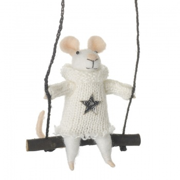 Heaven Sends Hanging Mouse on Swing Christmas Decoration