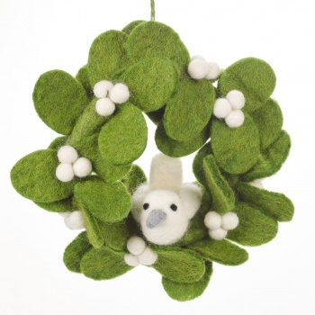 Felt So Good Mini Mistletoe Felt Wreath Hanging Decoration