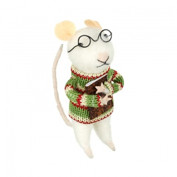 Heaven Sends Wool Mouse in Jumper and Glasses Christmas Decoration