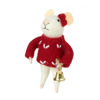 Heaven Sends Mouse In Red Jumper Holding Bell Decoration