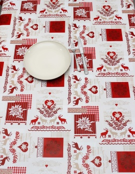 Peggy Wilkins Pvc Christmas Tablecloth Alpine Style