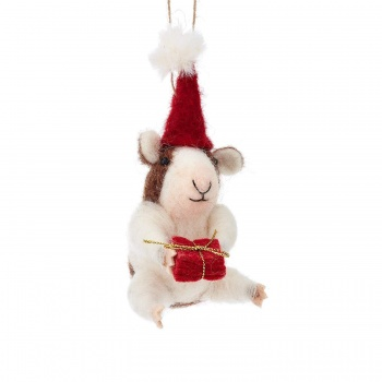 Sass & Belle Felt Christmas Guinea Pig Hanging Decoration