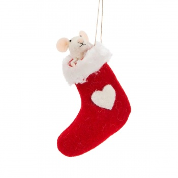 Sass & Belle Mouse in Stocking Felt Hanging Christmas Decoration