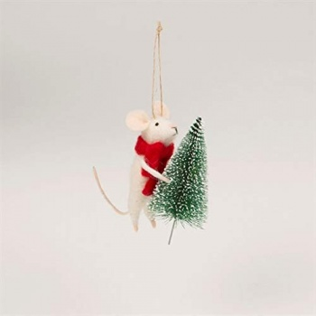 Sass and Belle Mouse with Christmas Tree Felt Decoration