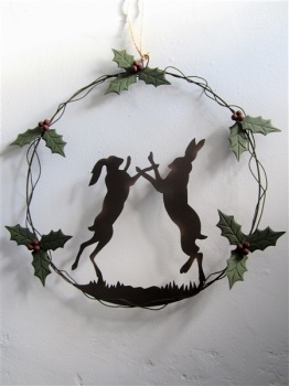 Rustic Boxing Hares Christmas Wreath from Shoeless Joe