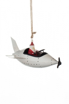 Shoeless Joe Santa In White Plane Christmas Tree Decoration