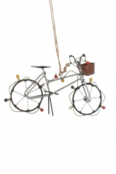 Shoeless Joe Silver Bike with Fairy Lights Christmas Decoration