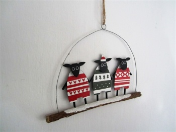 Shoeless Joe Christmas Decoration - Festive Sheep