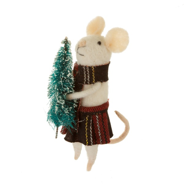Sass and Belle Felt Mouse with Christmas Tree Christmas Decoration