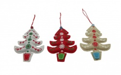 Gisela Graham Christmas Decoration - Trio Button Trees
